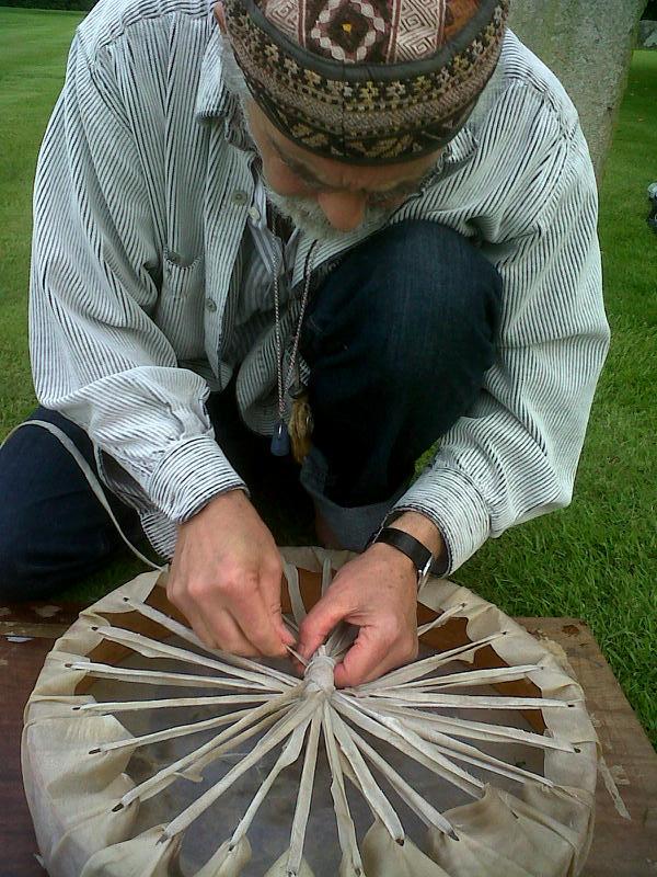 Steven Ash helping me make my drum